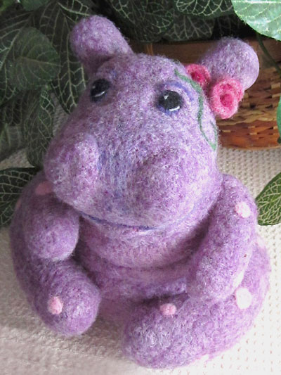 Needle felted animals purple hippo