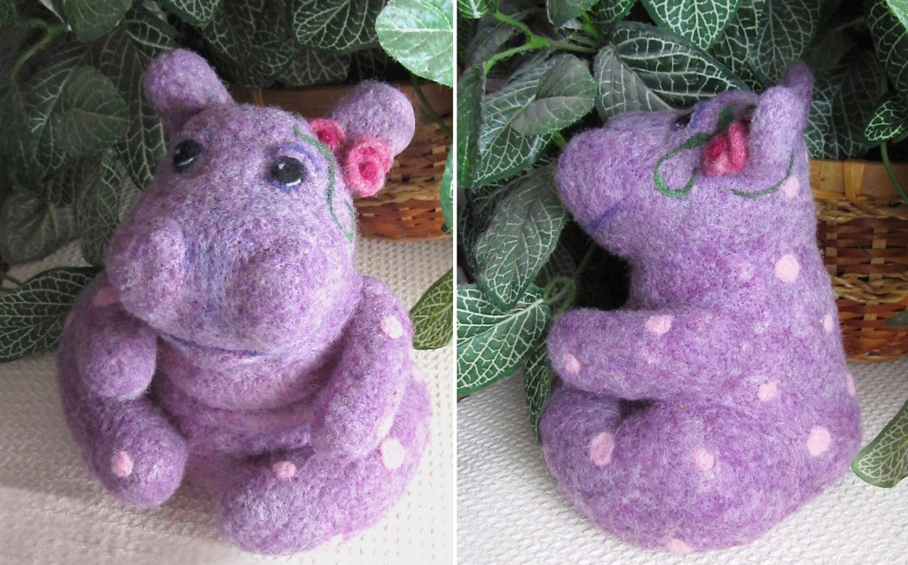 Needle felted hippo purple