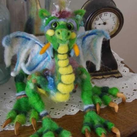 needle felted dragon