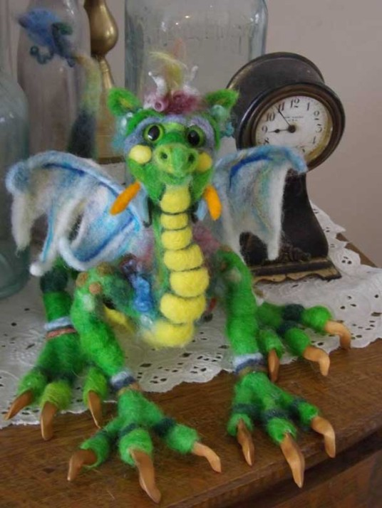 needle felted dragon