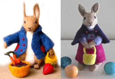 Needle Felted Mr & Mrs Bunny Rabbit