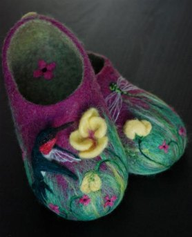 Wet Felted Slippers with Hummingbird by Kristen Gagnon