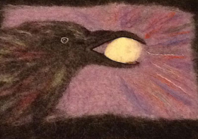 Sue-Hollingsworth-Raven felted wall art