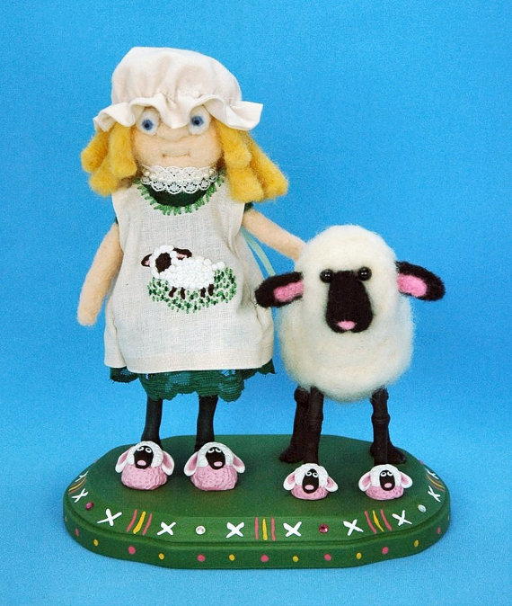 needle felted and polymer doll miss peeps and lambie  by Kristy Zgoda