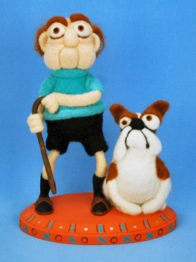 KRISTY ZGODA  OLD FART OLD MAN DOLL AND DOG