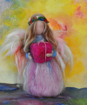 daria lvovsky felted birthday card with waldorf doll holding present