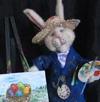 Needle Felted Bunny Painting Easter Eggs