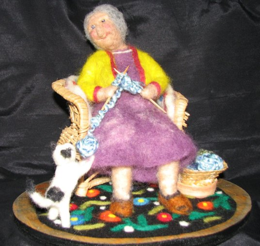 Needle Felted Granny Doll knitting in Rocking Chair with kitten