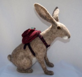 Needle Felted Bunny Rabbit with Back Pack