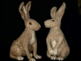 "Needle Felted Bunny Rabbits ""The Conversation"""