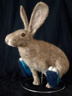 Needle Felted Bunny Rabbit in Tennis Shoes