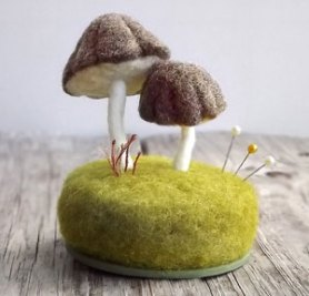 needle felted pin cushion with mushrooms or toadstools foxtail creek studio