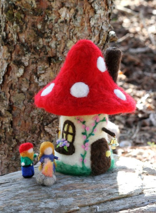 Needle Felted Toadstool House Mushroom Waldorf