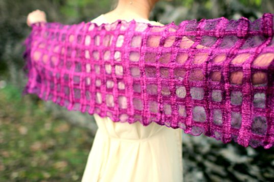 Raspberry Lattice Scarf by Kate Koprowski of HandiCraftKate