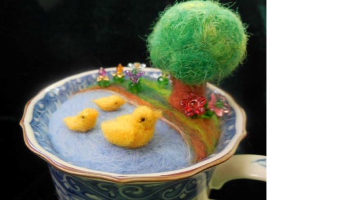 Needle Felted Ducks in a Tea Cup Pin Cushion