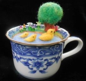 Needle Felted Ducks Pin Cushion by Kathleen Dodge-DeHaven