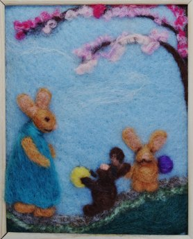 Needle Felted bunnies picture
