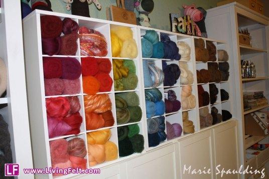 felting fiber craft studio wool or yarn organization