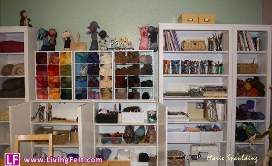 Craft room picture fiber felting studio organization