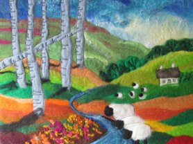 FELTED PICTURE STITCHED LANDSCAPE BY SUE FOREY