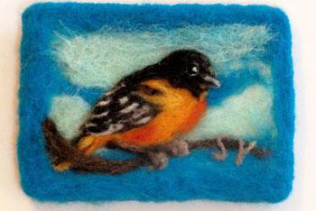 felted aceo card bird