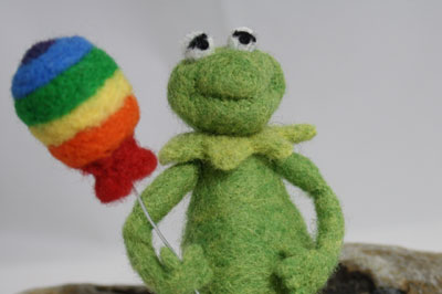 Needle Felted Kermit the Frog