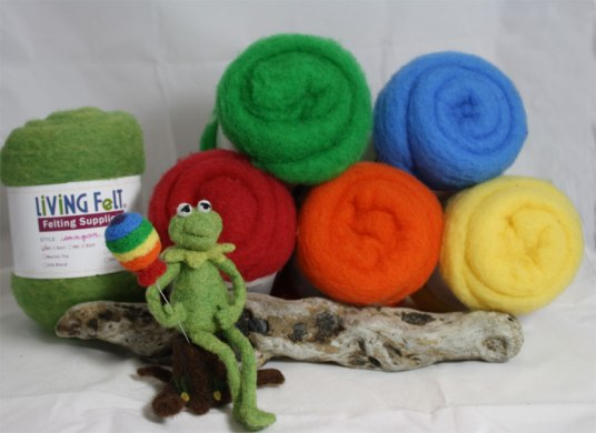 Needle Felted Kermit the Frog and the Rainbow Connection