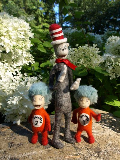 Needle Felted Cat in the Hat with Thing 2 Thing 1
