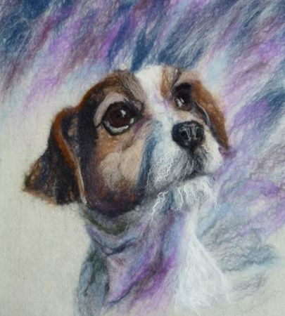 Felted Painting Dog Jack Russell by Fiona Gill of Marmelade Rose