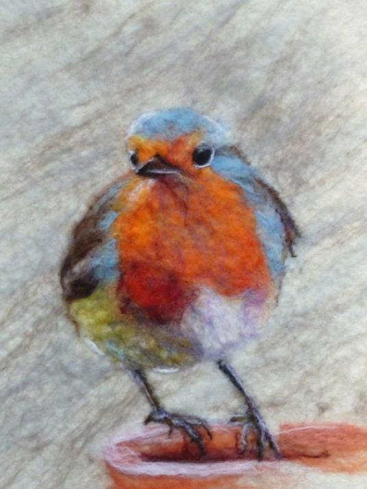 Felted Painting of Robin Bird by Fiona Gill of Marmelade Rose