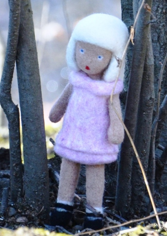 Needle and Wet Felted Bear with Removable Jacket and Girld with Removable Dress