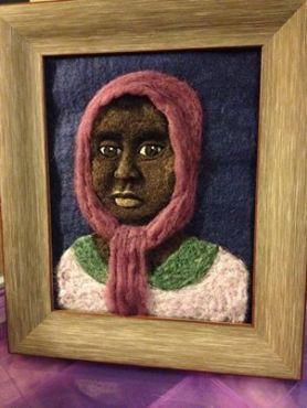 Needle Felted Portrait African Girl by Sonja Weeks Oswalt of Consipiracy of Love
