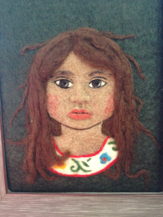 Needle Felted Portrait, Child, Mexican girl by Sonja Weeks Oswalt of Conspiracy of Love