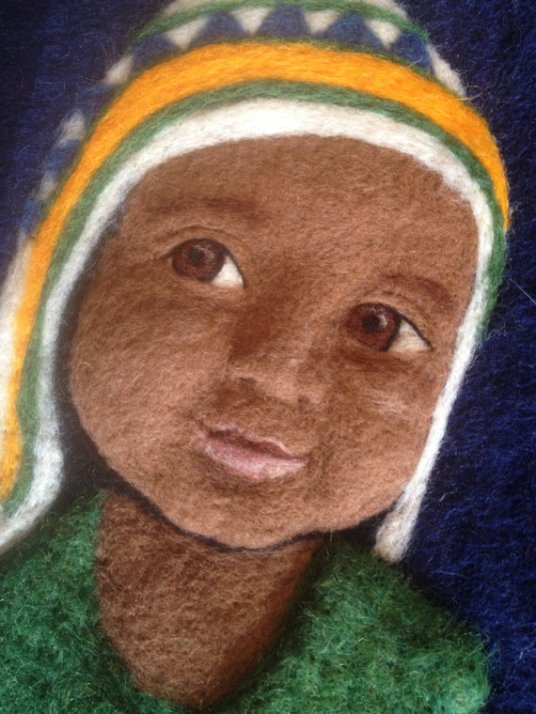 Needle Felted Portrait, Child, Nepal / Nepalese Boy by Sonja Weeks Oswalt of Conspiracy of Love