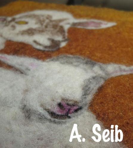 Needle felting paintings with Arlette Seib on www.livingfelt.com/blog