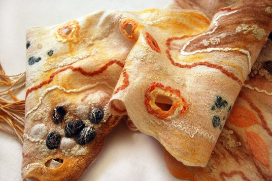 Wet Felted Cobweb Scarf in Beach theme by Helene Dalmar