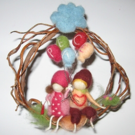 Needle Felted Waldorf Inspired FriendshipWreath-ZuzanaHochman Peace Felt gift to Marie Spaulding. On display at Living Felt