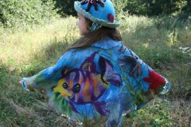 Felted Child Outfit Hat and Cape in Ocean Sea Theme by Ekaterina Tasminskaâ
