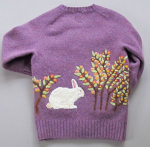 Upcyled Wool Sweater with Needle Felted Design for Child at Screen Door Studios