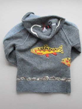 Upcycled Wool Sweater with Needle Felted Design for Child at Screen Door Studios