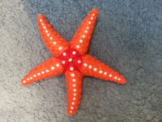 Needle Felted orange and white starfish