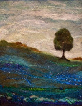 Felted Wool Painting Wall Hanging LONE TREE AGAIN by Deebs on etsy and Featured on www.livingfelt.com/blog