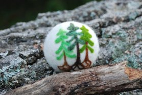 Tiny Needle Felted Trees by Lisa Bondurant and Featured on www.livingfelt.com/blog