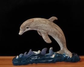 Needle Felted Dolphin by Sue Stasiowski Featured on www.livingfelt.com/blog