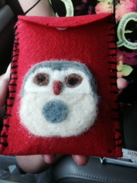Needle Felted Owl Phone Case by Tracy Zody and Featured on www.livingfelt.com/blog