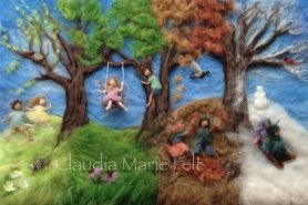 Needle Felted Trees Picture Four Seasons by Claudia Marie Felt Featured on www.livingfelt.com/blog