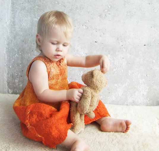 Lena Baymut Felted Baby Dress Featured on www.livingfelt.com/blog