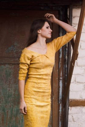 Lena Baymut  Felted Dress, Featured on www.livingfelt.com/blog