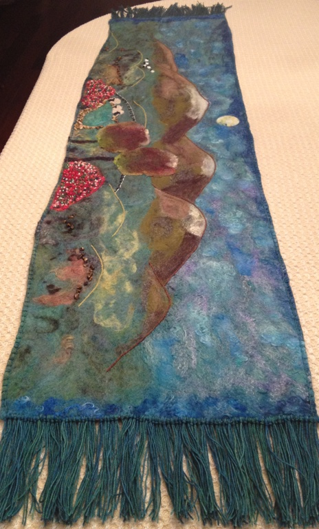 Wet and needle felted mixed media shawl