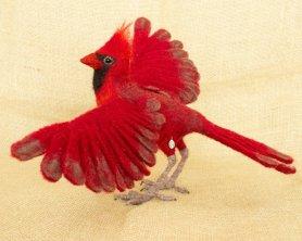 Needle felted bird cardinal by Megan Nedds on www.livingfelt.com/blog